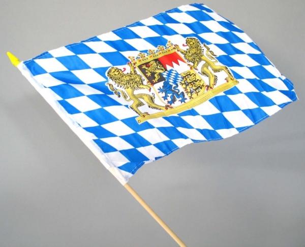 Bayern-Flagge am Holzstab - Oktoberfest Deko