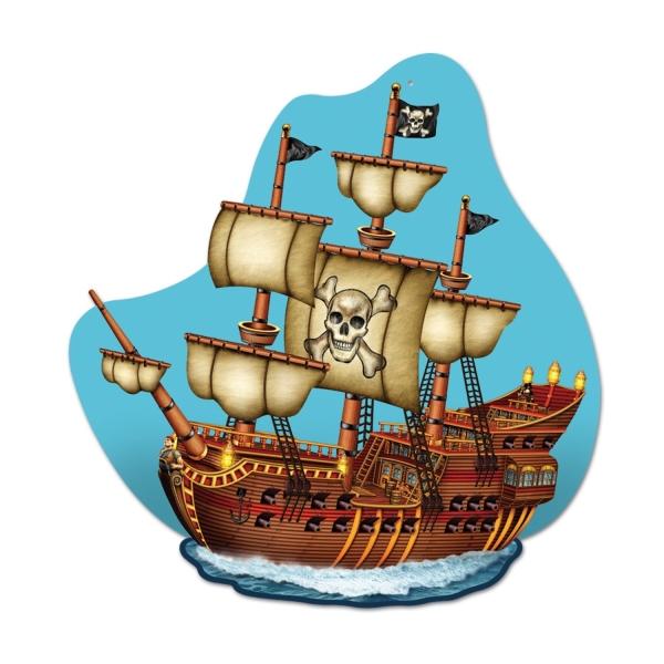 Deko-Schild Piratenschiff, 40 cm