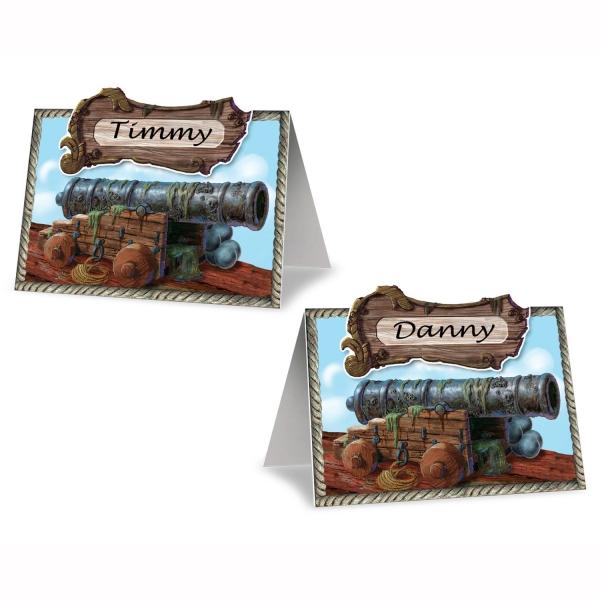 Platzkarten-Set Piratenkanone, beschriftbar - Piratenparty Tischdeko