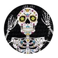 Pappteller Sugar Skull Mexikoparty, 23cm, 6er Pack