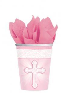 Pappbecher Christliche Feier, rosa