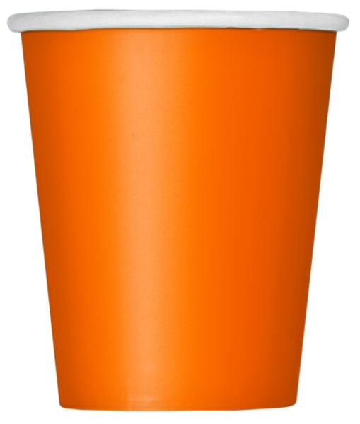 Pappbecher Orange, 260ml, 14er Pack