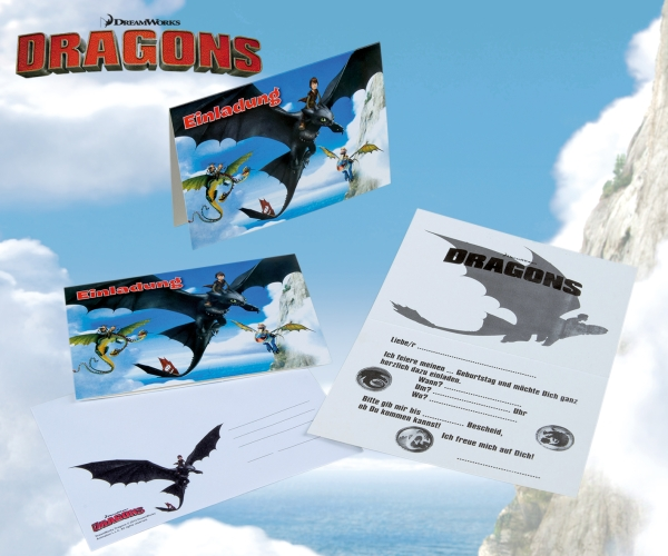 Einladungskarten Dragons, 8er Pack