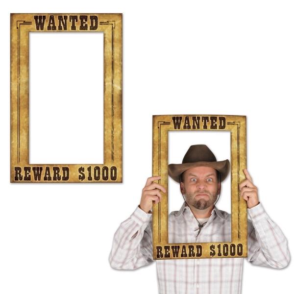 Fotofun-Bilderrahmen Wanted - Westernparty Cowboy Deko