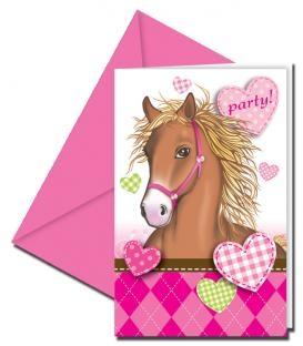Einladungskarten Ponyhof, 6er Pack mit Umschlägen