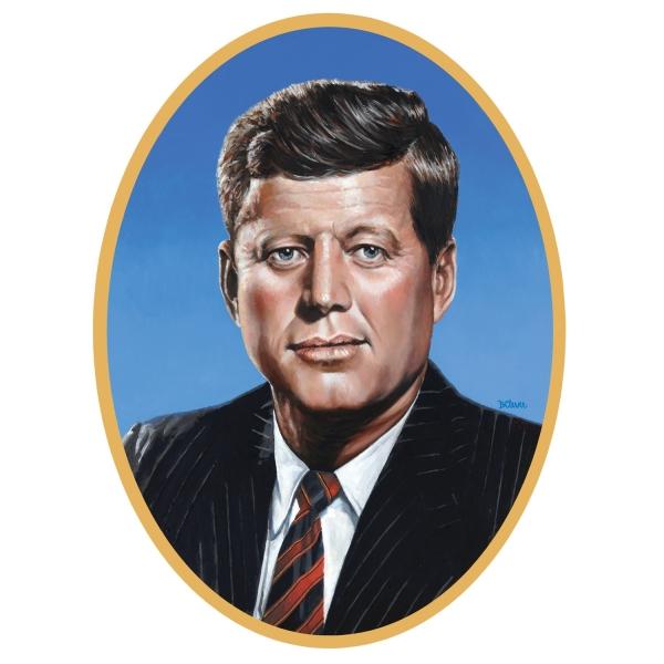 Cutout-Portrait John F. Kennedy, 62 x 46 cm