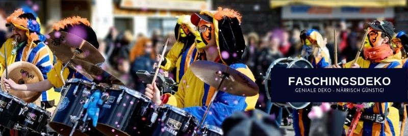 Faschingsdeko zu naerrischen Preisen fuer Karneval + Fasnacht günstig kaufen