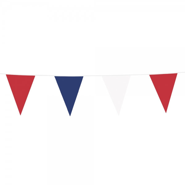 XL-Wimpelkette Tricolore - Laender Deko rot-weiß-blau