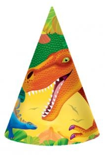 Party-Hüte Dinosaurier, 8er Pack