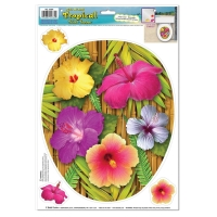 Party-Extra Toiletten-Aufkleber Hibiscus Blüten - Hawaii Beachparty Deko