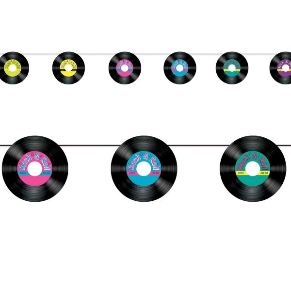 Schallplatten-Girlande - Rock 'n' Roll Partydeko
