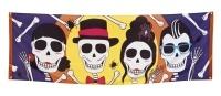 Riesen Stoff-Banner Sugar Skull Mexikoparty, 74x220cm