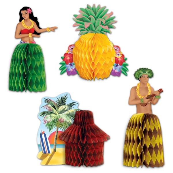 Mini-Tischdekoset Honolulu,, 4er Pack