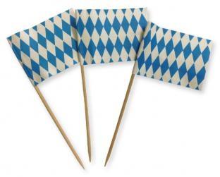 Flaggenpicker Bayern, 200er Pack - Oktoberfest Tischdeko