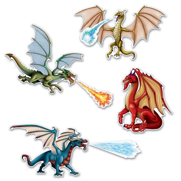 Party-Extra Cutout Set Drachen - Fantasy Deko