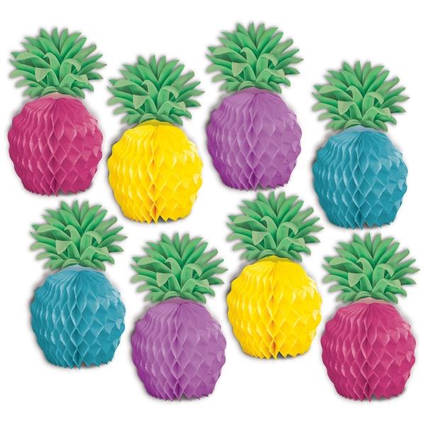 Tischdeko-Set Ananas, 8er Pack - Beachparty Hawaii Deko
