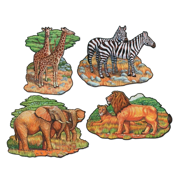 Cut-Out-Set Afrika, 4er Pack je 40 cm groß