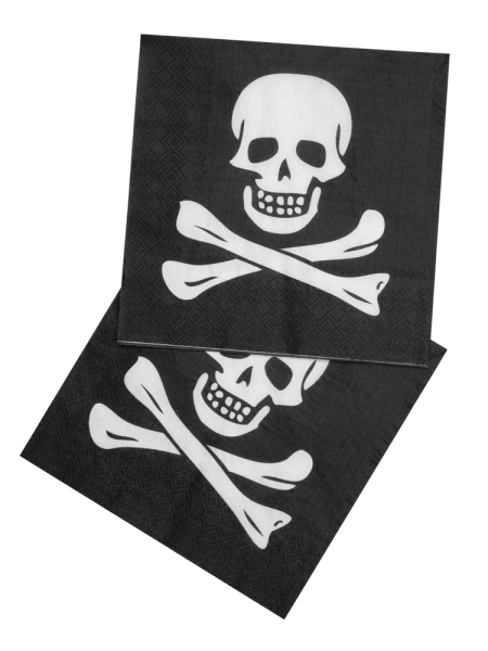 Servietten Totenkopf - Piratenparty Deko