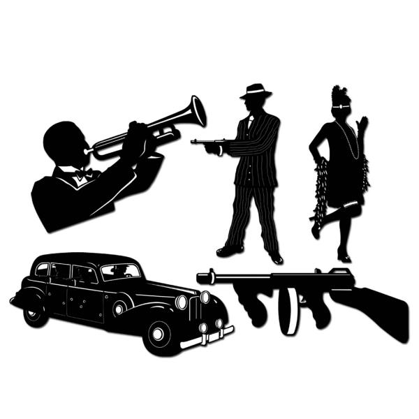 Gangster Silhouetten Set - 20er Jahre Deko
