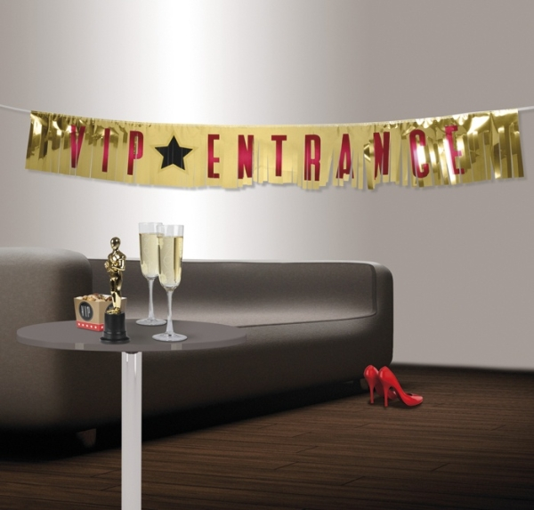 Party-Extra Folien-Fransenbanner VIP - Impression - Hollywood Mottoparty Deko