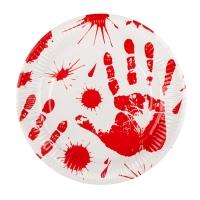 6 Pappteller Blutbad eines Killers (23 cm)