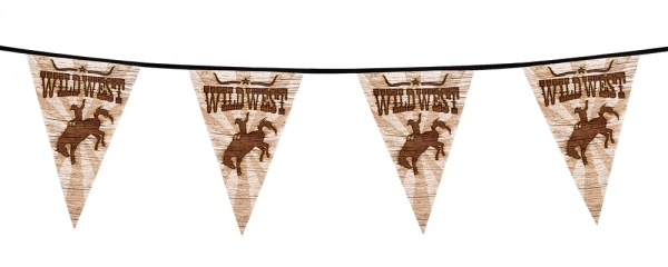 Party-Extra Wimpelkette Wild West Rodeo - Westernparty Deko