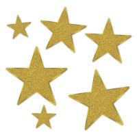 Gold Star Folienstern Set, gold, 6-teilig