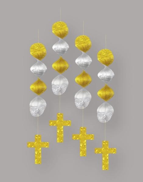 Dekohänger Christliches Kreuz, 4er Pack je 45cm lang