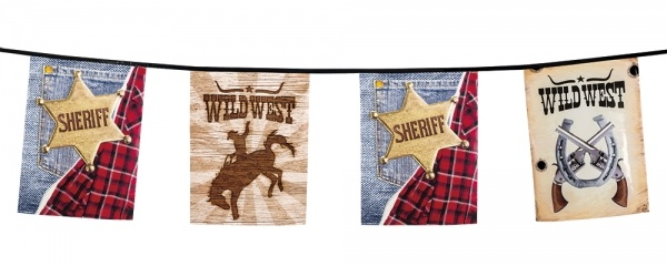 Party-Extra Flaggenkette Westernparty - Wild West Cowboy Deko