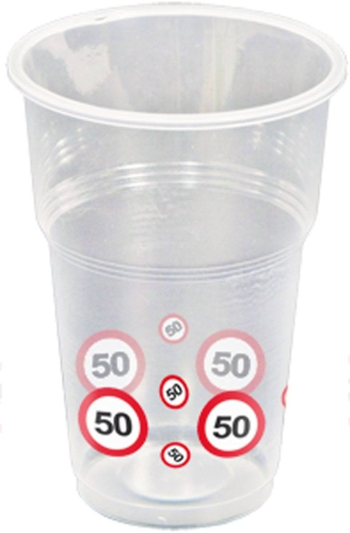 Plastikbecher Verkehrsschild 50 - Geburtstagsparty