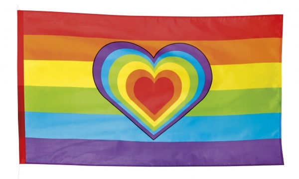 Party-Extra Dekofahne Regenbogen, 90 x 150 cm - Vielfalt + Toleranz