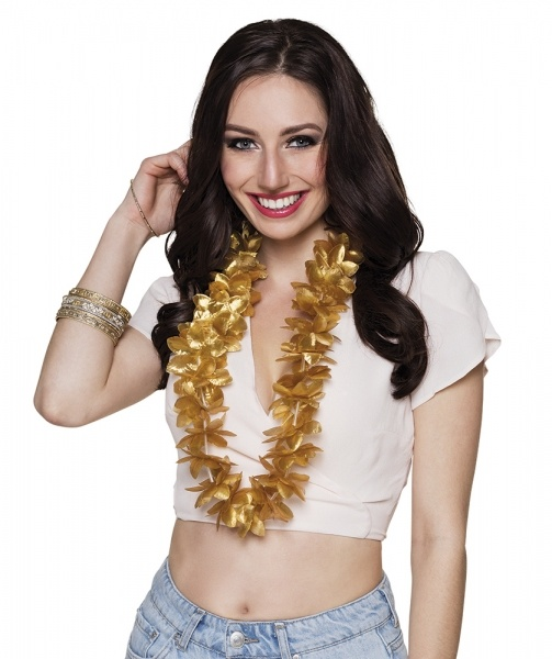Party-Extra Hawaiikette Gold - Beachparty Glitzer Deko