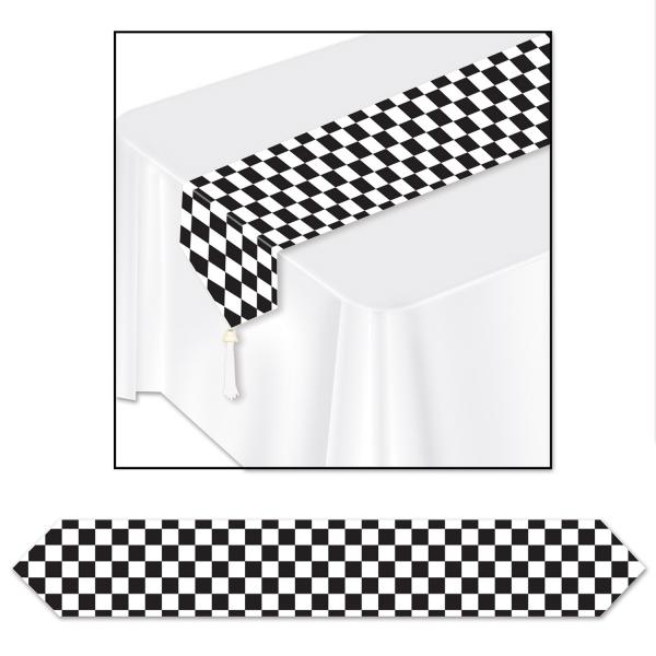 Papp-Tischlaeufer Black + White - American Diner Deko