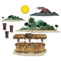 Dekofolie Tiki-Bar, 6 Motive, 9 Folien Set, von 23 bis 135cm