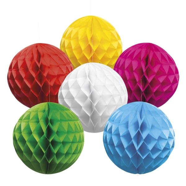 Honigwabenball Deko Set, 6 Farben - Gartenparty Deko