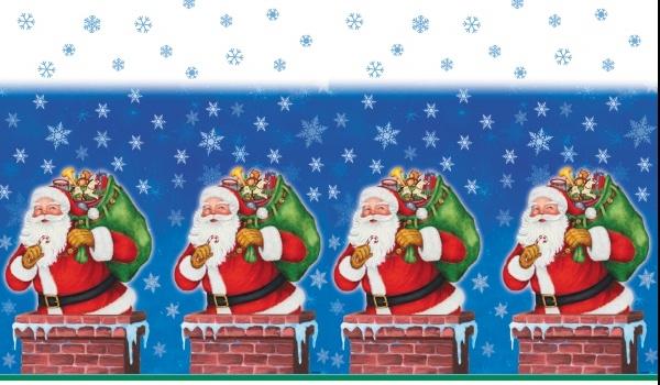 Plastik-Tischdecke Weihnachtsmann, 1,37m x 2,13m groß