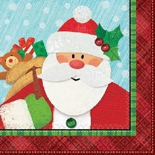 Mini-Servietten Fröhlicher Weihnachtsmann, 16er Pack