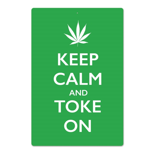 Dekoschild Keep Calm + Toke On - Hippie Deko