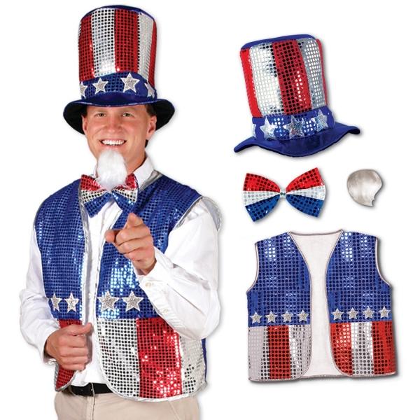 Uncle Sam Kostüm-Set - Amerika Deko