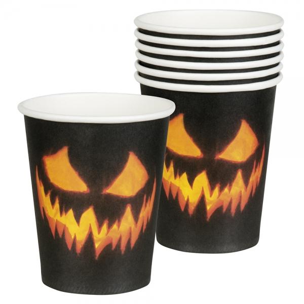 Pappbecher Spooky Pumpkin - Halloween Tischdeko
