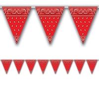 Wimpelkette Texas Red Bandana, 360cm, 12 Wimpel je 25cm