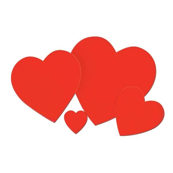 Cutout-Set rote Herzen - Romantische Deko zum Valentinstag