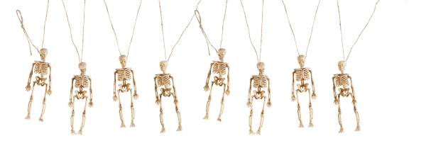 Girlande mit Mini-Skeletten, 150cm lang, 4x15cm Skelette