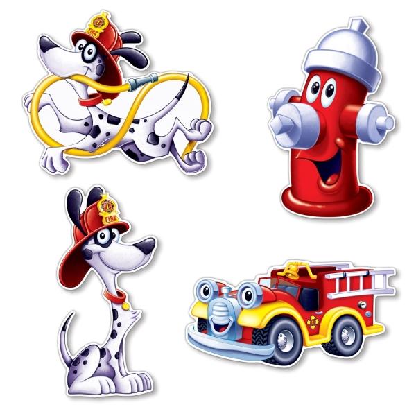 Cutout-Set Feuerwehr, - Kinderparty Deko