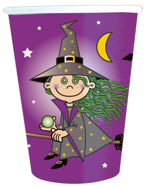 Pappbecher Süße Hexe, 8er Pack