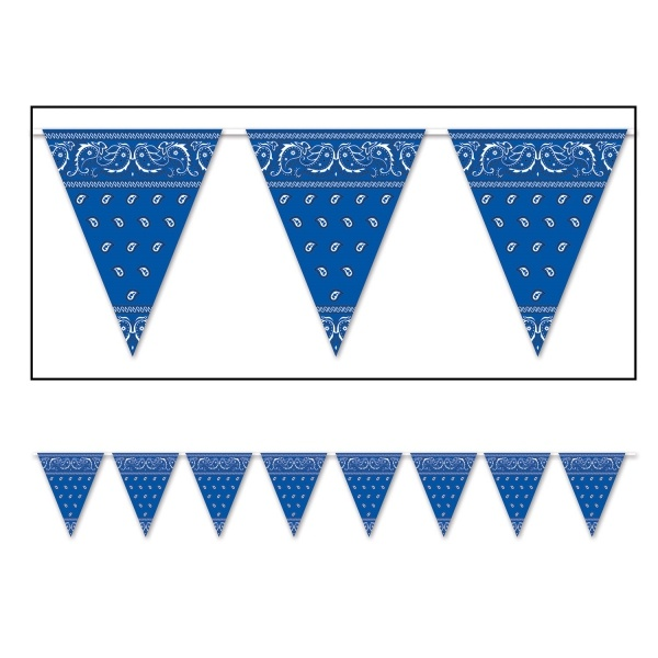 Party-Extra Wimpelkette Texas Blue Bandana - Wild West Deko