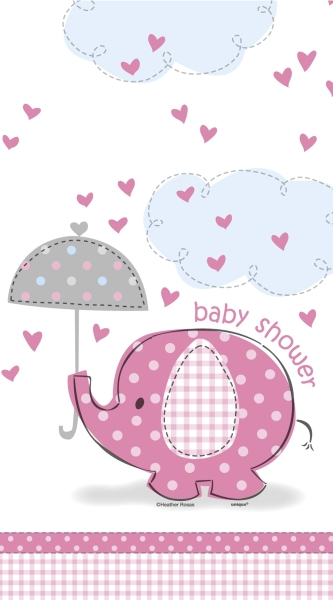 Party-Extra Plastik-Tischdecke Babyfant, rosa - Babyparty Deko
