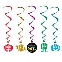 Spiralhänger 80er Party, 5er Pack