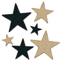 Golden Starlight Folienstern Set, 6-teilig