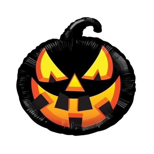 Folienballon Schwarzer Kuerbis - Halloween Deko